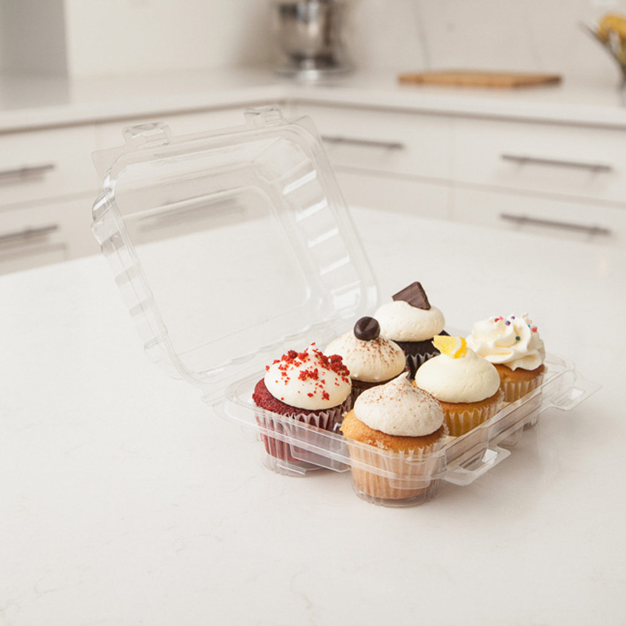 "6 Pack 1.75"" Mini Cupcake Container"