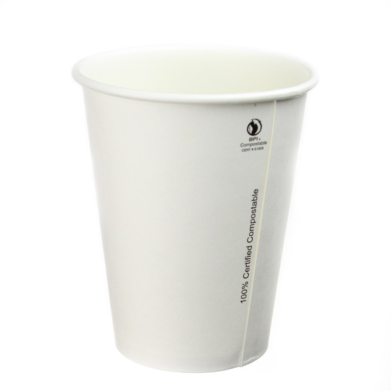 12oz Compostable Plain White Hot Cups