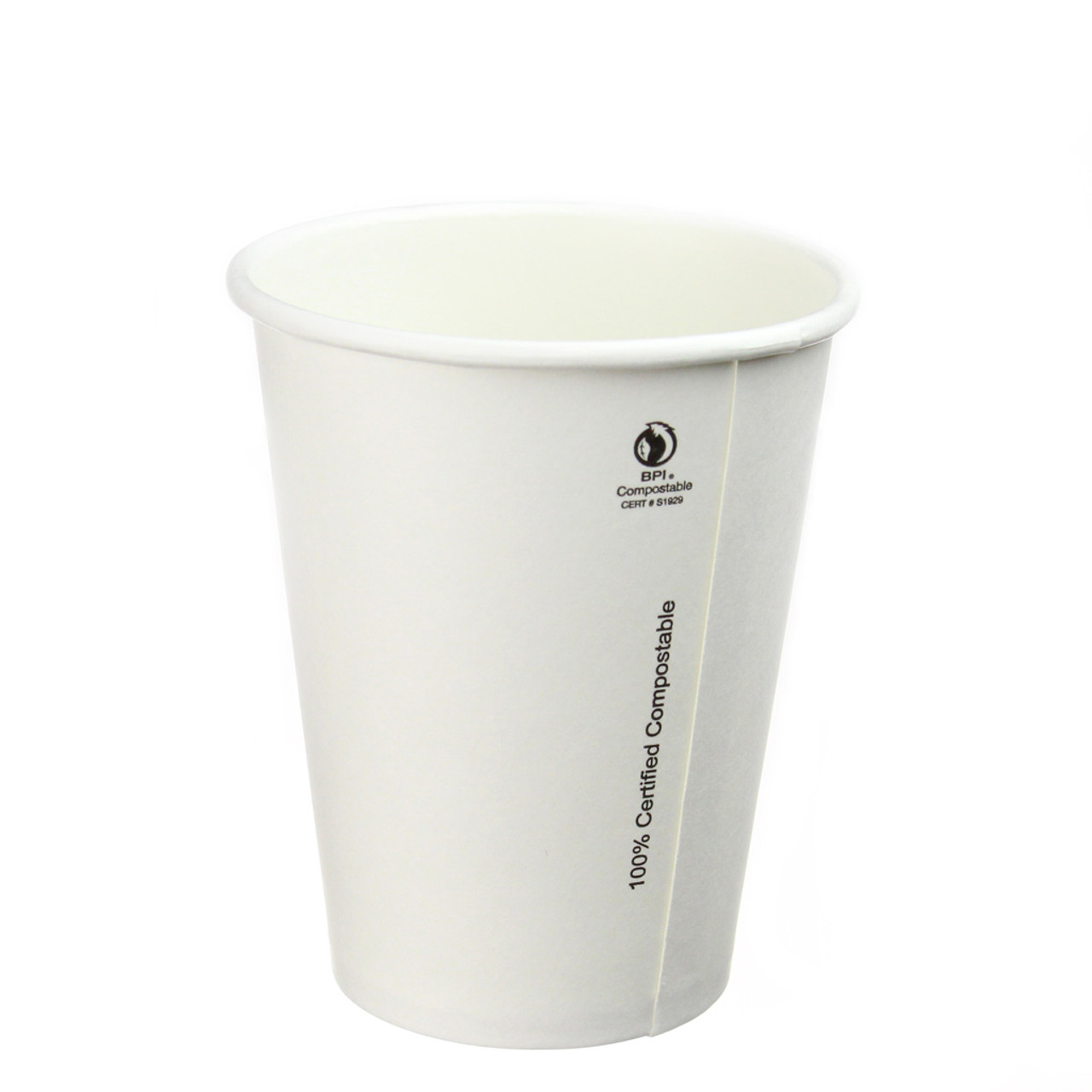 8oz Plain White Compostable Hot Cup