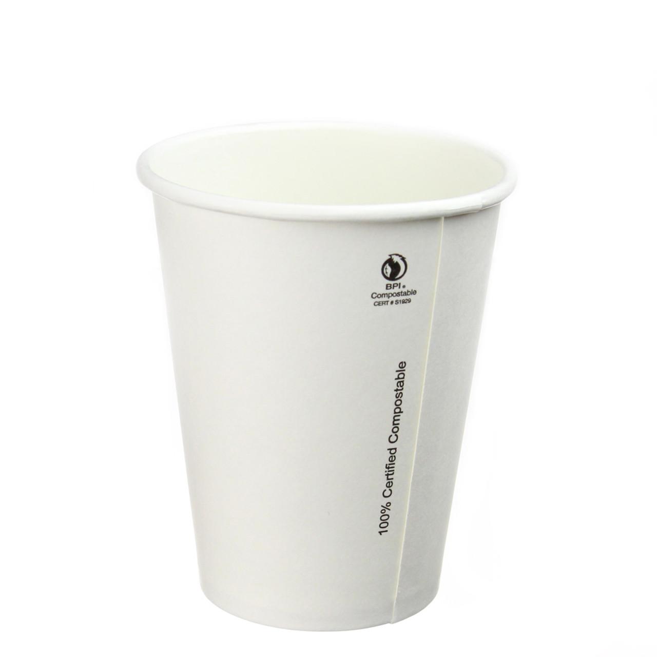 8oz Plain White Compostable Hot Cup