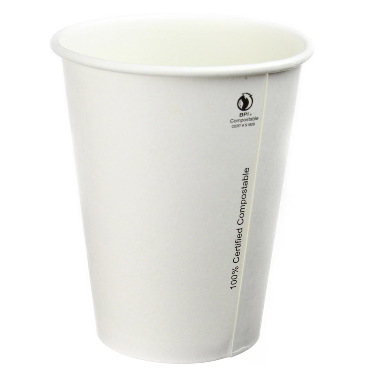 16oz Compostable Plain White Hot Cups