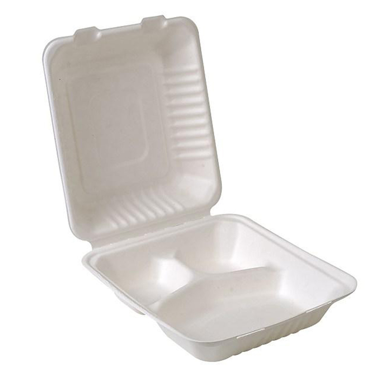 8x8x3 3-compartment sugarcane clamshell