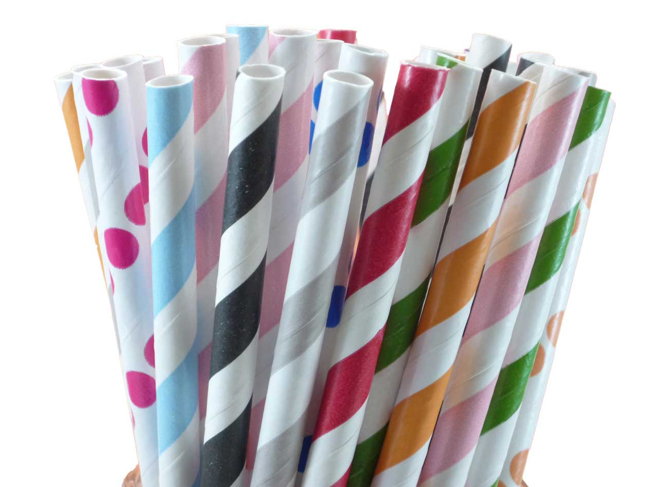 Paper Straws - Black Dots
