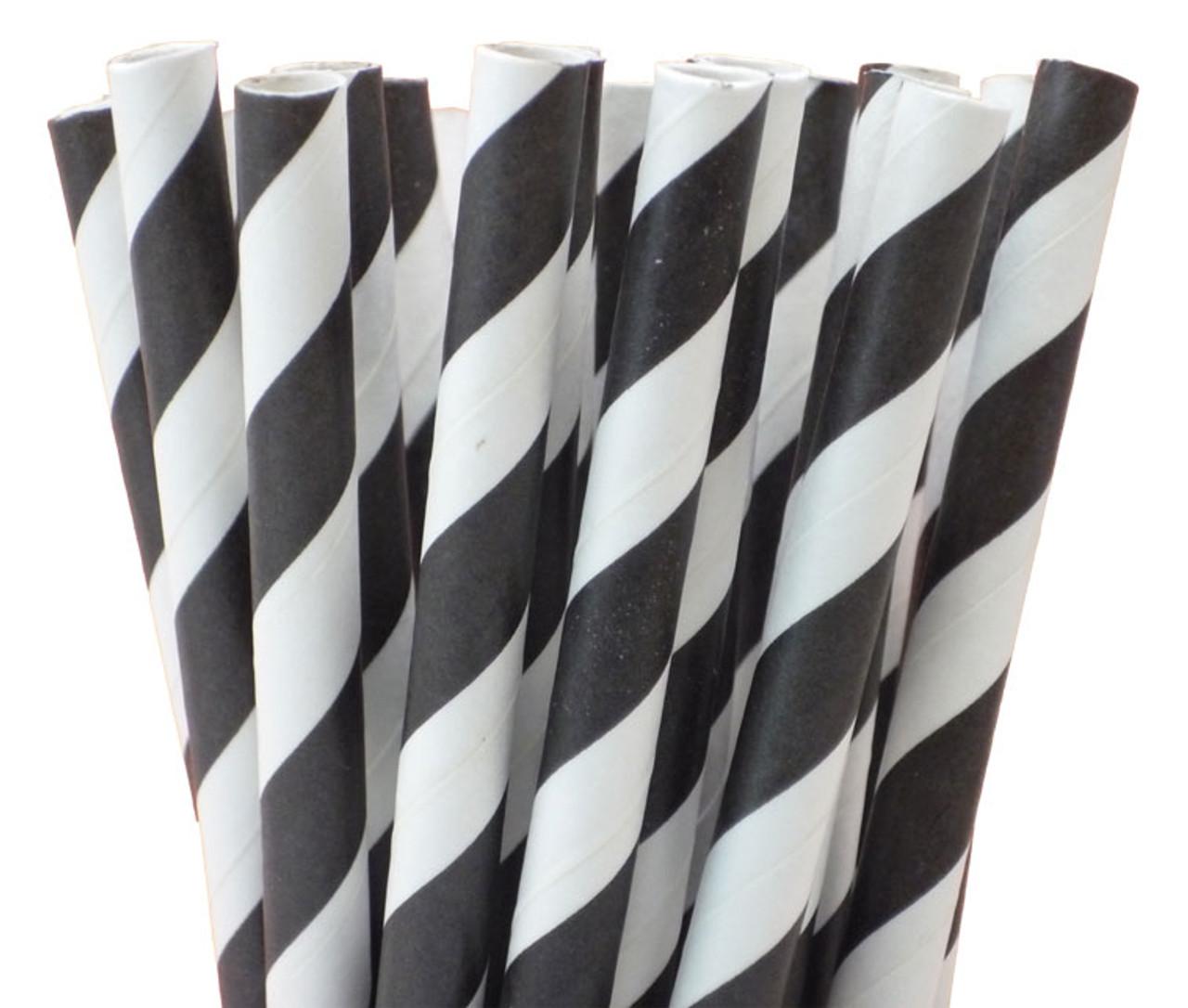 "5.5"" Cocktail Black Striped Paper Straws"