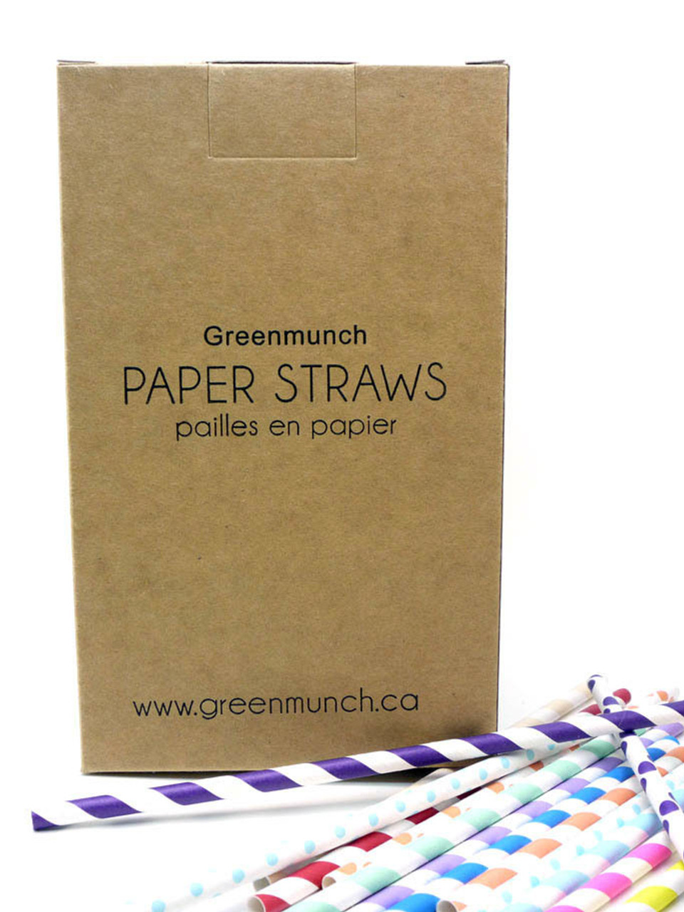 "7.75"" Printed Standard Paper Straws - Box of 400"