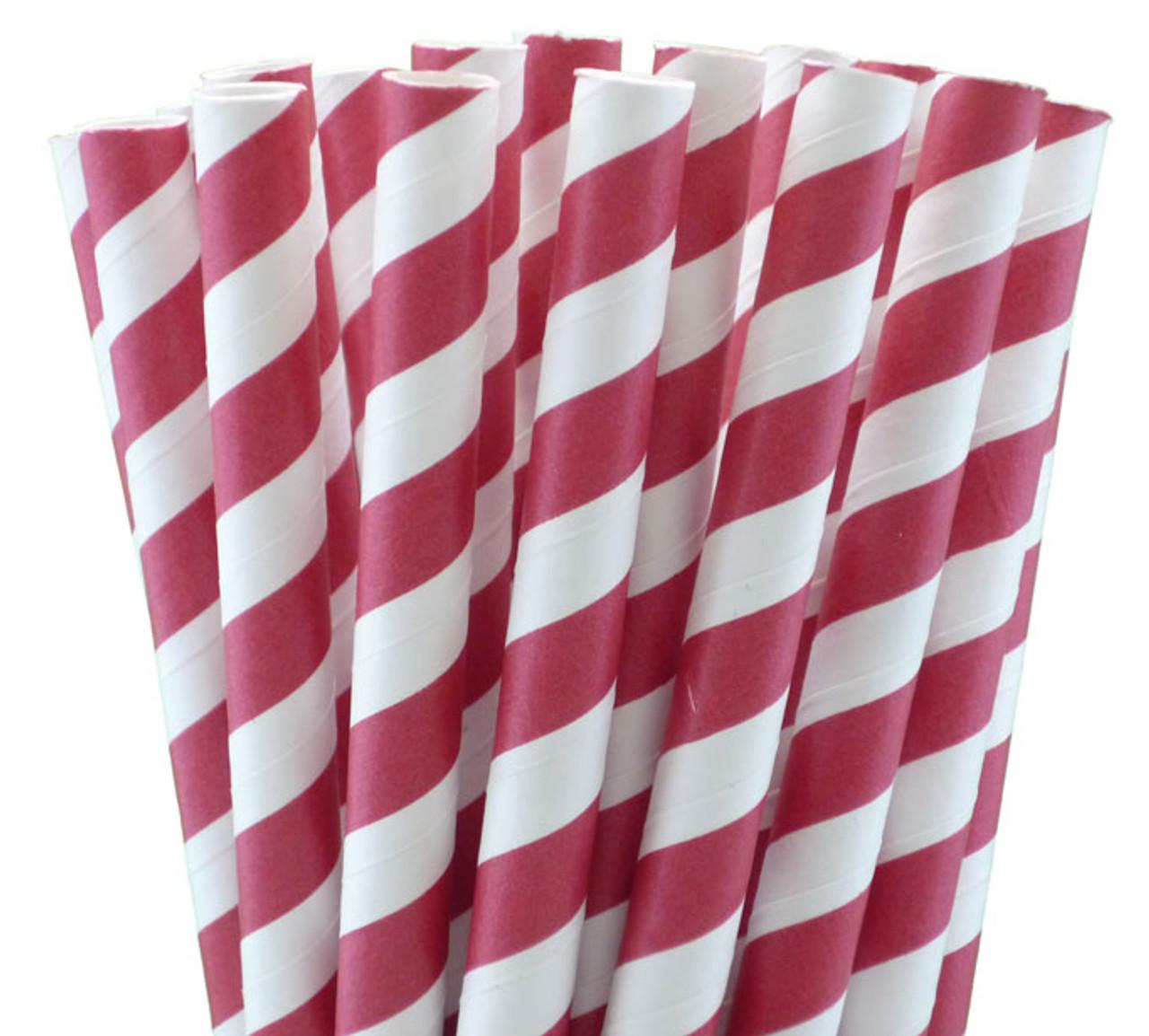 "7.75"" Milkshake Red Striped Paper Straws"