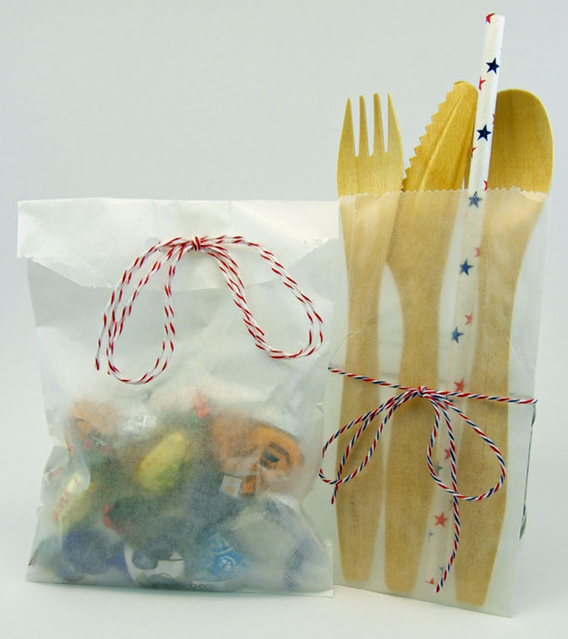 Aspenware Cutlery & Candy in Glassine Paper Bags.  Cotton Bakers Twine for Packaging.