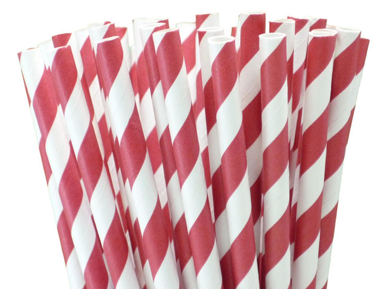 Tall Paper Straws - Red Stripes