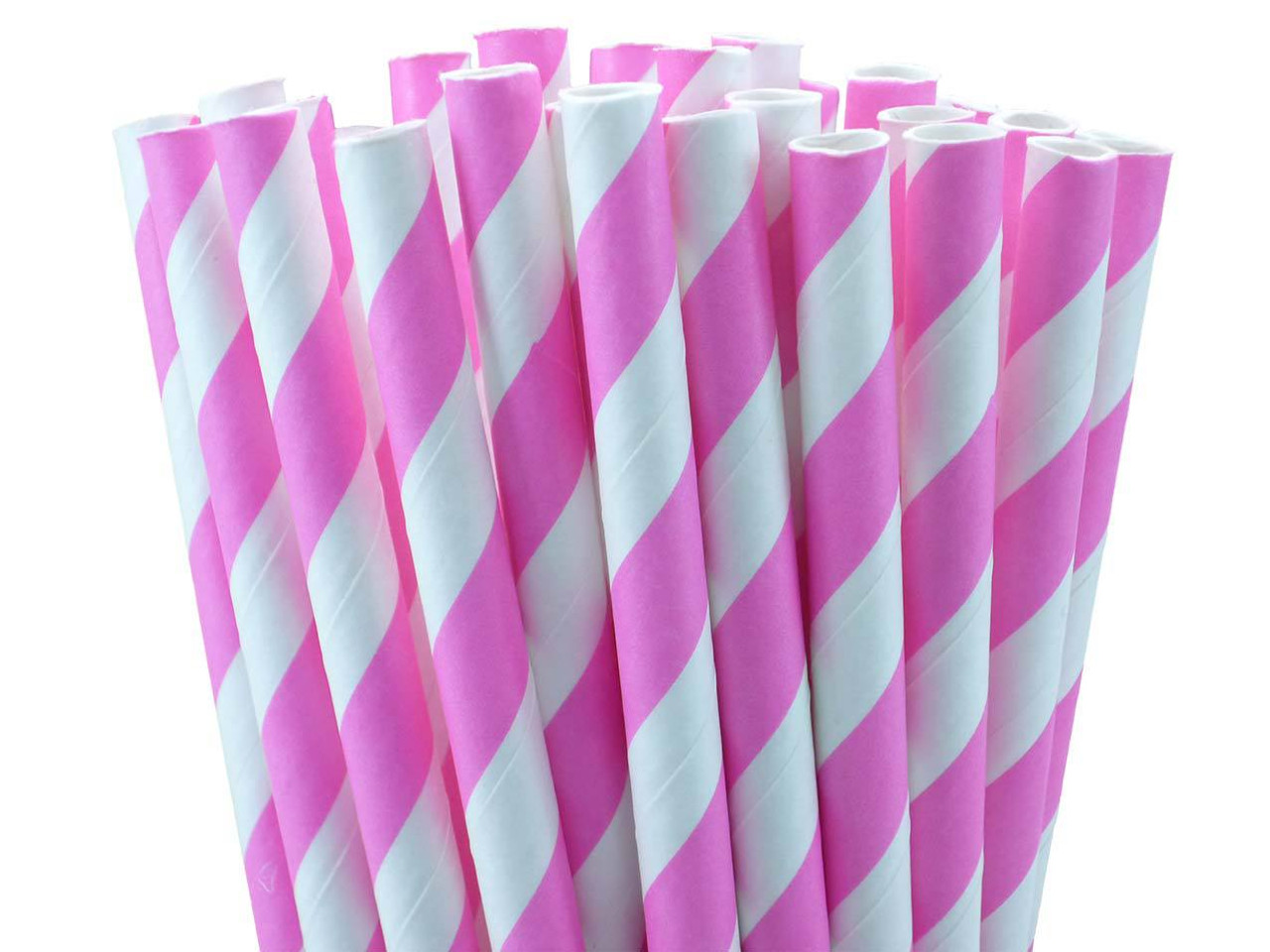 "10.5"" Pink Striped paper straws"
