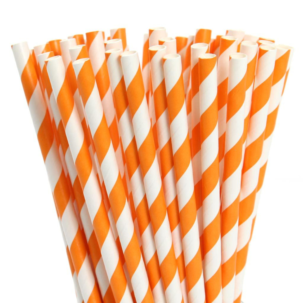 Tall Paper Straws - Bright Orange Stripes