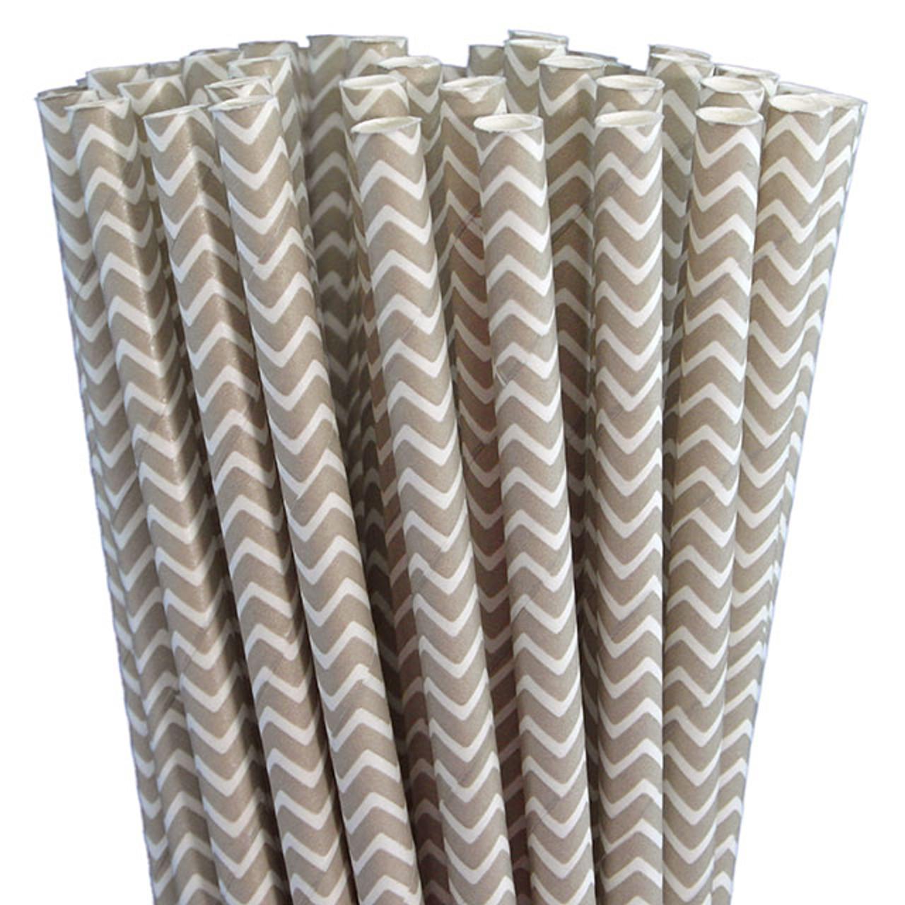Paper Straws - Grey Chevron