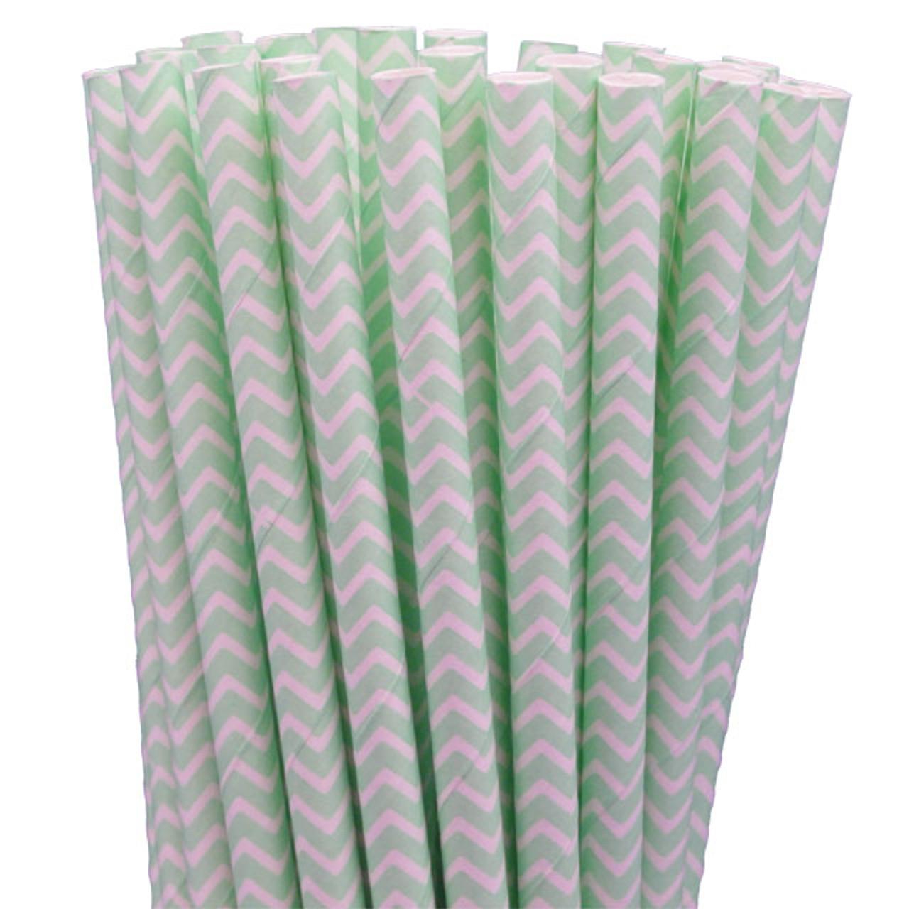 Paper Straws - Mint Green Chevron