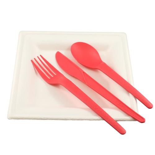 Sugarcane Plates with Coral Plantware Cutlery