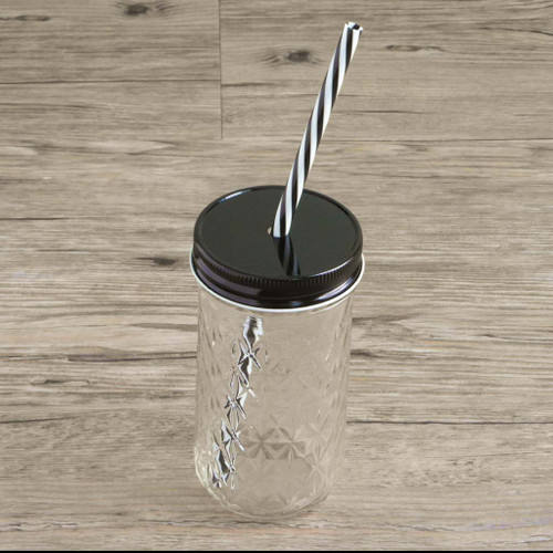 12oz mason jar with black lid and reusable straw
