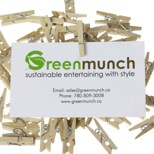 Mini Clothespins attached to business card