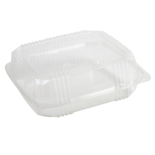 "8""x8"" Hinged Clear Compostable Clamshell"