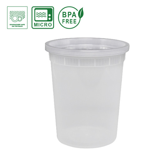 Plastic Soup / Deli Container with Lid - 32oz