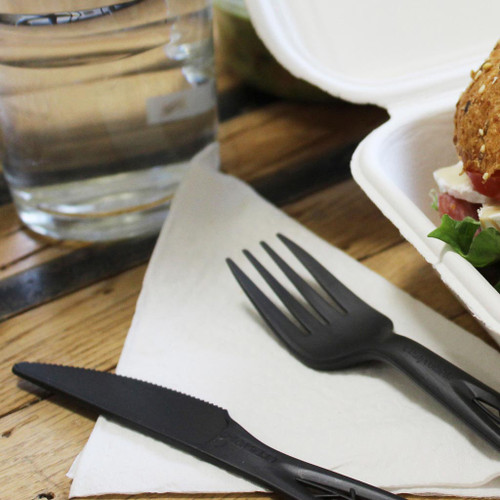 "6.5"" Compostable Heavy Weight Black Forks"