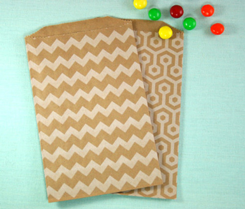 Brown with White Chevron Bags