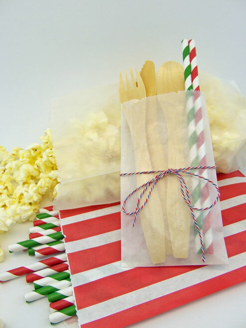 "Popcorn in Medium Glassine Bags. Cutlery & Straws in 3"" x 5 1/2"" Glassine Bags"