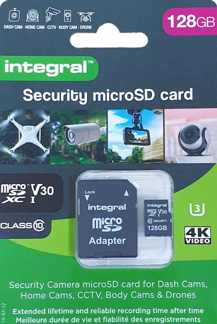 Security CCTV Class 128GB microSDXC Memory Card + SD Adapter Integral