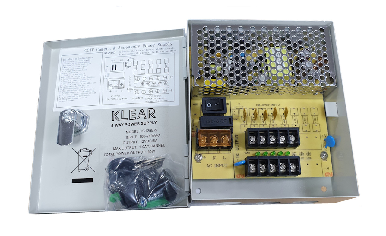AC/DC 12V 5 Amp 5 Way Boxed Power Supply PSU Fitted With PTC Fuses