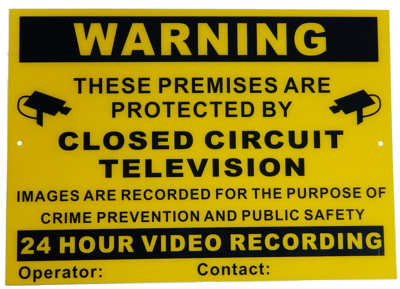 CCTV Warning Sign A4 *0.7mm Thickness Flexible Polycarbonate Can be Used Inside or Outside