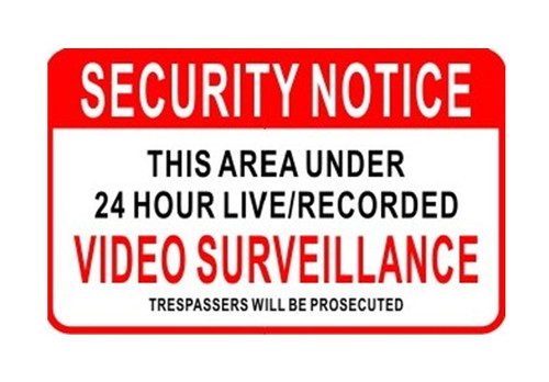 CCTV WARNING SIGN STICKER 165MM X 102MM RED & WHITE