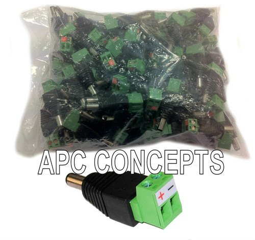 100 Pack Quick Power Connectors - Terminal Connection 2.1mm x 5.5mm x 12mm STD CCTV Size