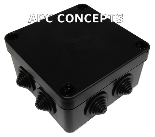 IP RATED JUNCTION BOX BLACK HP100 SERIES 113MM X 113MM X 58MM