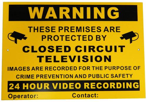 A4 CCTV Warning Sign Aluminium Composite Long Life Material Vivid Colour