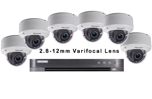 6 External-Internal DS-2CE56F7T-AVPIT3Z Dome Camera 2.8mm-12mm Lens With 8ch Hikvision DS7208-HUHI-K1 DVR