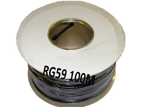 100m RG59 C/U Black Coaxial Cable, CCTV Use POC Compatible Full Copper