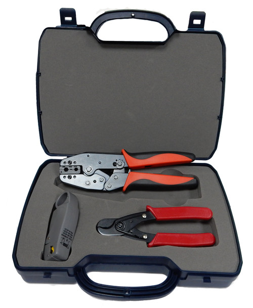 CCTV TOOL KIT RG59 RG58 CRIMPING TOOL CRIMPER ROTARY STRIPPER & CUTTER HQ Version