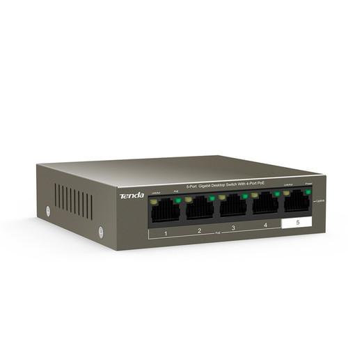 Tenda TEG1105P-4-63W Switch 5-Port 10/100/1000 Mbps Gigabit Desktop Switch with 4-Port PoE 63W