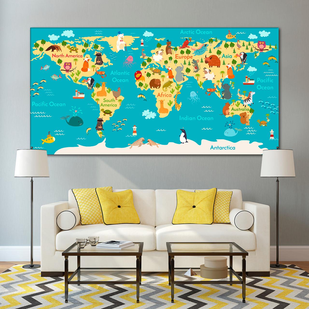 Animal World Map for Kids Room - ARTWOG