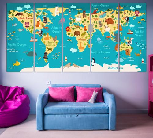 Animal World Map for Kids Room