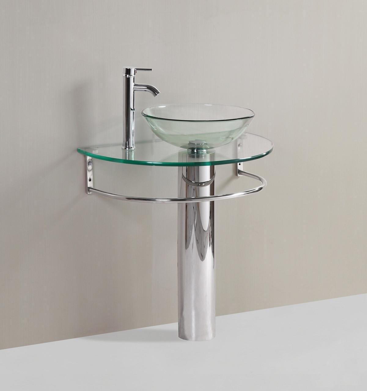 Modern Glass Bathroom Vanity Pedestal Clear Glass Vessel Sink Faucet