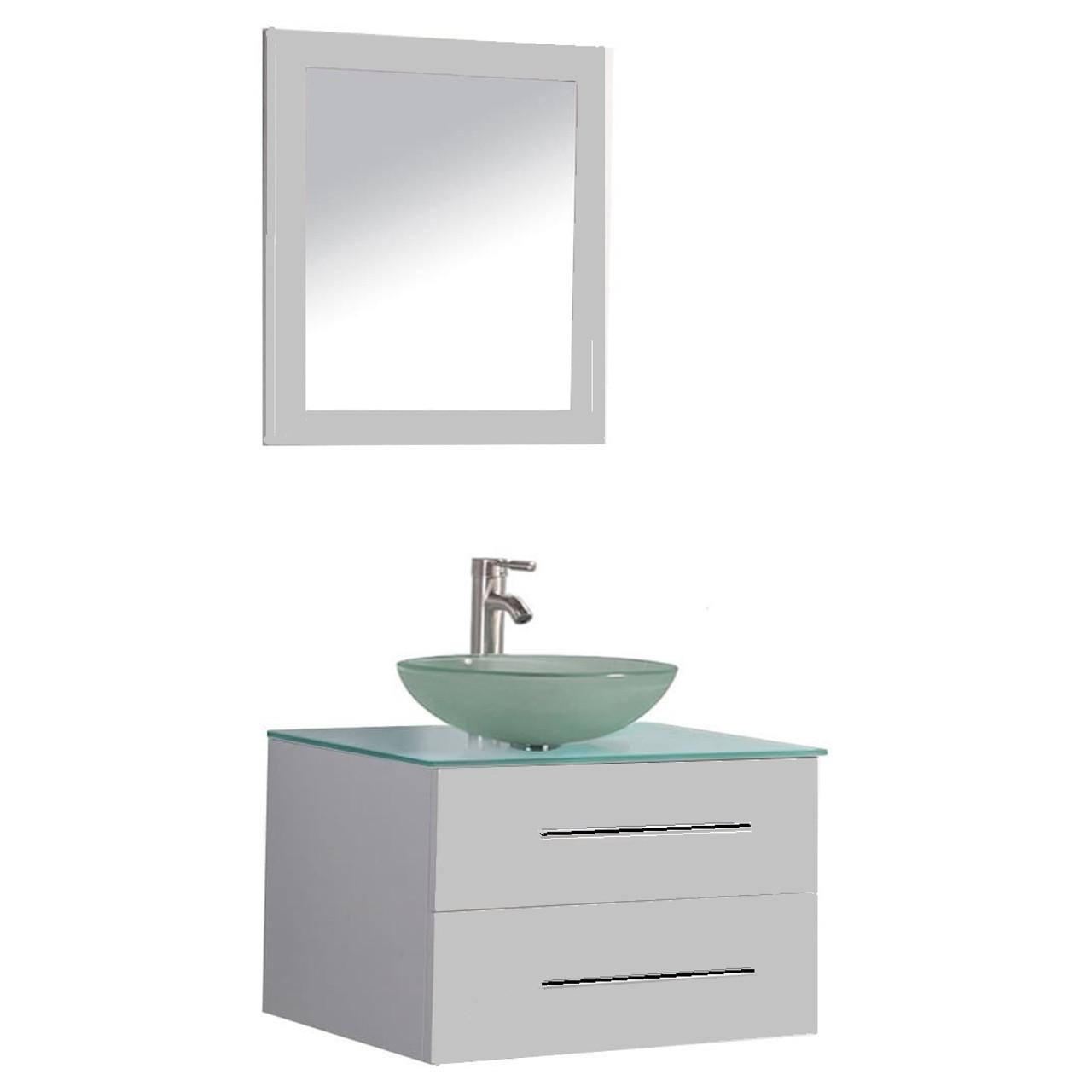Lorixon Lv 10 30 24 Gray Modern Floating Bathroom Vanity Wall Mount Cabinet Frost Glass