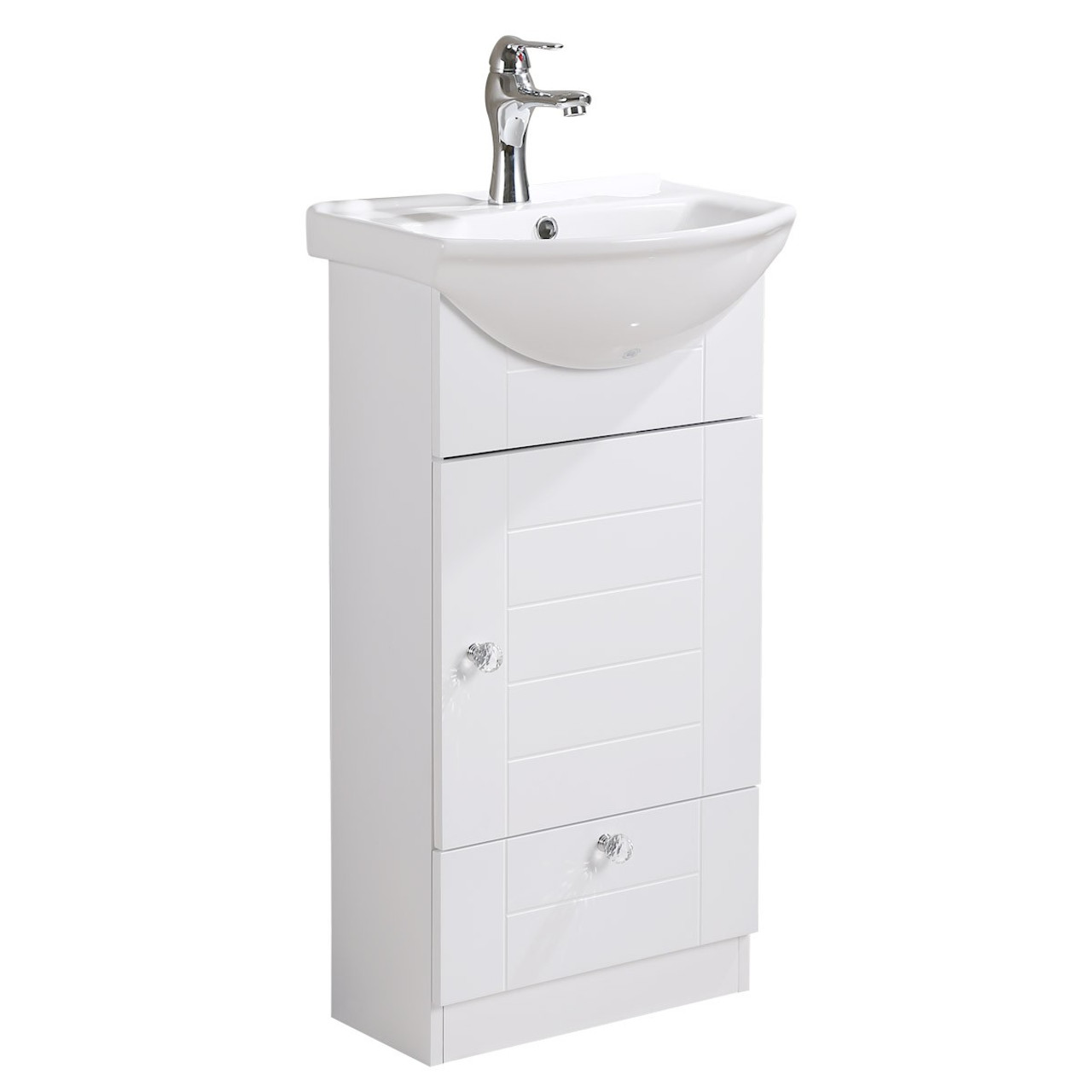 finest selection ef38d 4fa36 Lorixon LV-1001W White Bathroom Vanity Ceramic Sink White Cabinet with  Drawer 18inches Modern