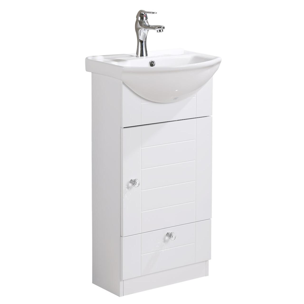 Lorixon LV-1001W White Bathroom Vanity Ceramic Sink White Cabinet with  Drawer 18inches Modern