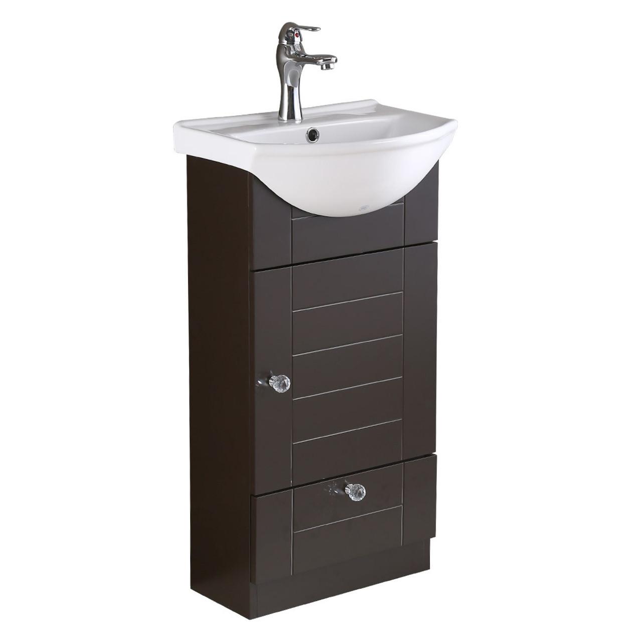 Lorixon Lv 1001e Espresso Bathroom Vanity Ceramic Sink White