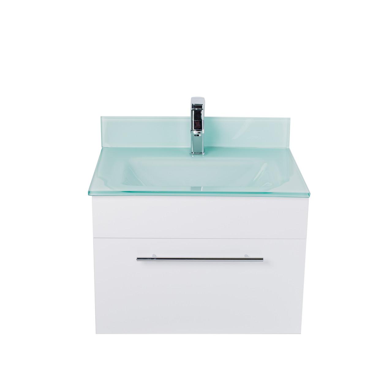 Lv 1040 White Modern 24 Wide Wall Mount Bathroom Vanity With Back Splash Lorixon Product