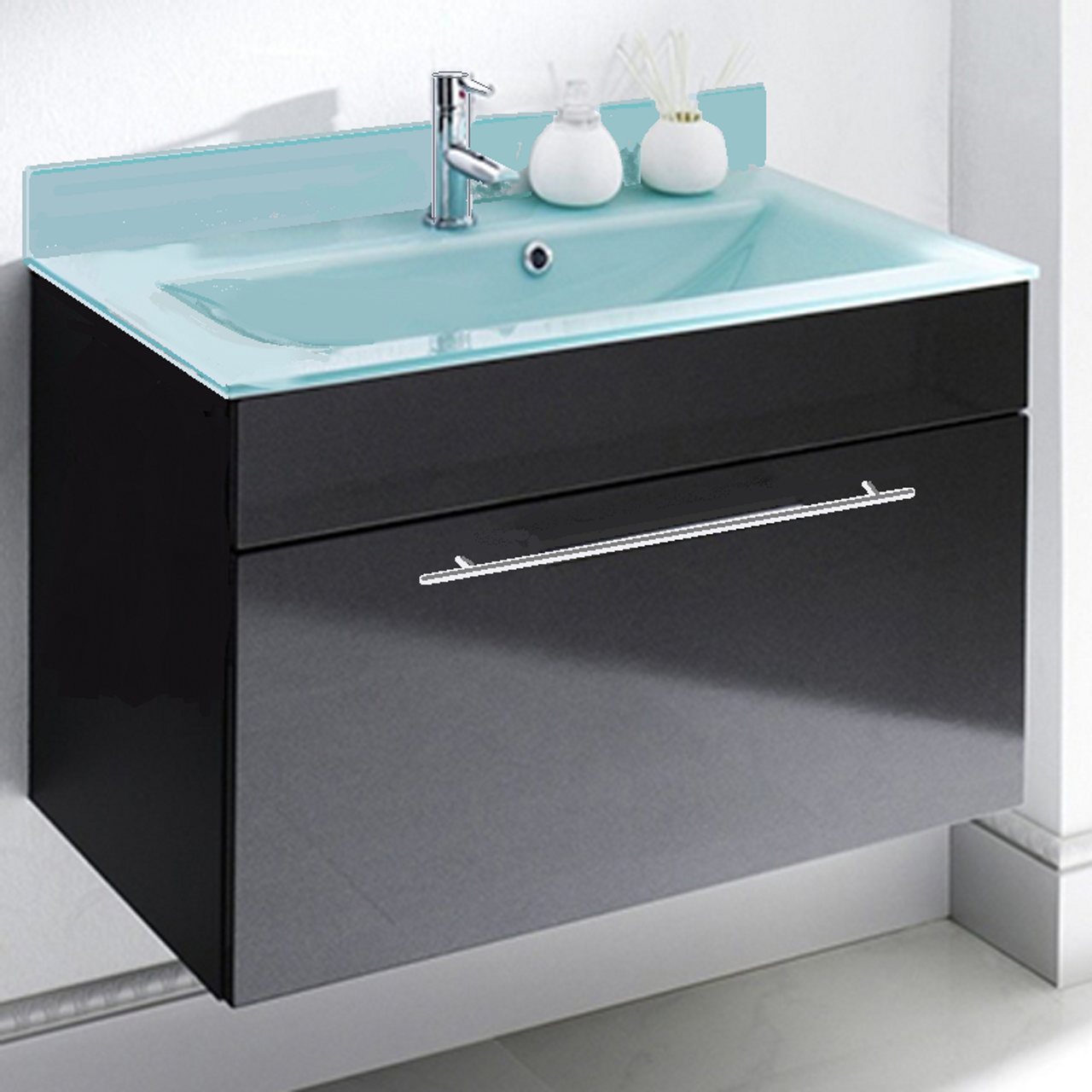 Awesome Lv 1040E 24Wide Espresso Bathroom Vanity Glass Integrated Sink Backsplash Soft Closing Drawer Interior Design Ideas Clesiryabchikinfo