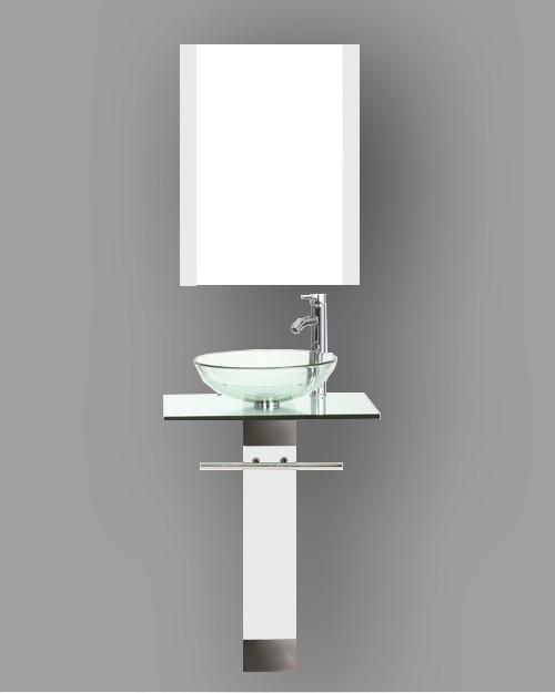 Enigma 24\'\' White Modern Bathroom Vanities Pedestal with Mirror