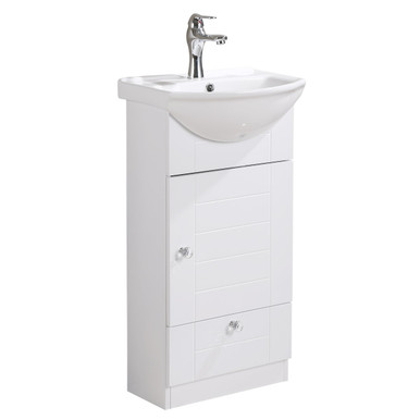 Lorixon LV 1001W White Bathroom Vanity Ceramic Sink White Cabinet With  Drawer 18inches Modern