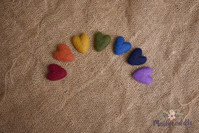 Tiny Felted Cuddle Hearts Rainbow Set