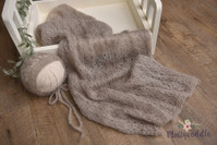 Hand Knitted Wrap and Bonnet Set - Pebble