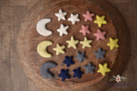 needle felted moons and stars