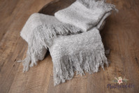 Tattered Frayed Soft Faux Mohair Layer - Grey Melange
